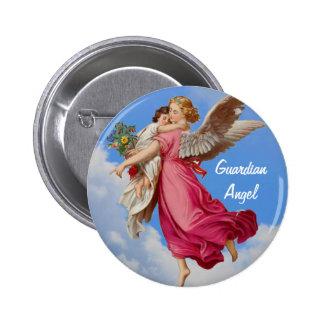 Ángel de guarda y botón inspirado del niño pin redondo de 2 pulgadas