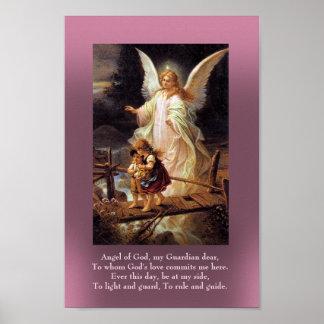 Ángel de guarda y dos niños póster