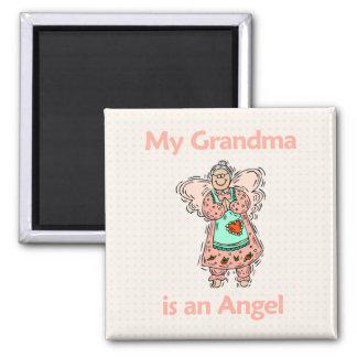 Ángel de la abuela imán cuadrado