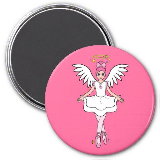 Ángel de la bailarina en rosa imán redondo 7 cm