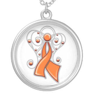 Ángel de la cinta del cáncer de la leucemia en mem joyeria personalizada