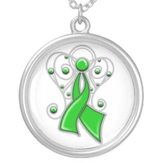 Ángel de la cinta del cáncer del riñón en memoria colgante redondo