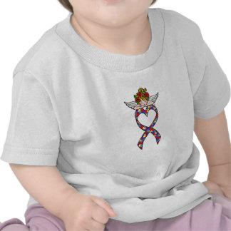 Ángel de la cinta del corazón del autismo camisetas