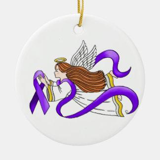 """Ángel de la """"cinta púrpura"""" de la conciencia adorno redondo de cerámica"""