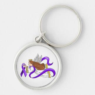 """Ángel de la """"cinta púrpura"""" de la conciencia llaveros personalizados"""