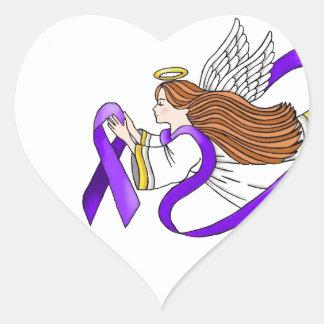 """Ángel de la """"cinta púrpura"""" de la conciencia calcomanía de corazón"""