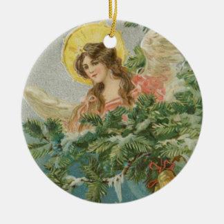 Ángel de la ciudad del navidad del vintage adorno navideño redondo de cerámica