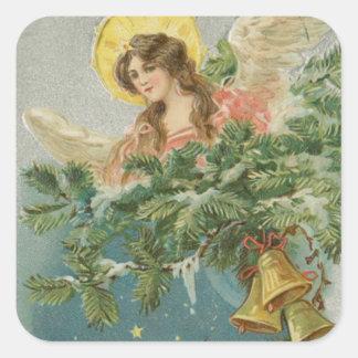Ángel de la ciudad del navidad del vintage calcomania cuadradas personalizada