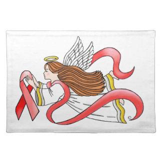 """Ángel de la conciencia de la """"cinta roja"""" del SIDA Mantel Individual"""