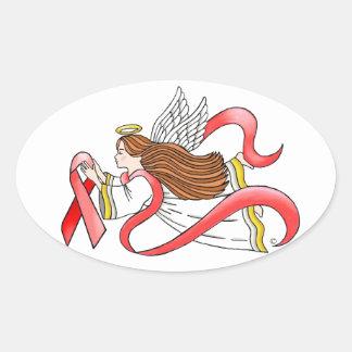 """Ángel de la conciencia de la """"cinta roja"""" del SIDA Colcomanias Ovaladas"""