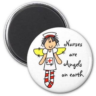 Ángel de la enfermera imán redondo 5 cm