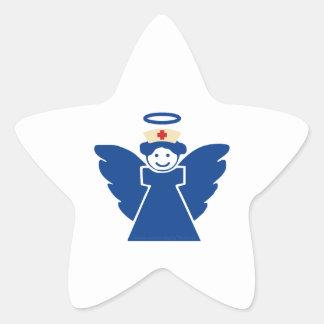 Ángel de la enfermera pegatina en forma de estrella