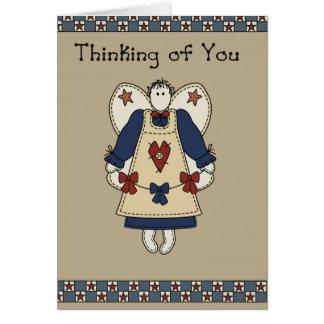 Ángel de la estrella de 2765 países que piensa en tarjeta de felicitación