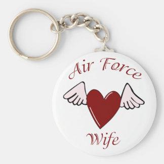 Ángel de la fuerza aérea (esposa) llavero redondo tipo pin