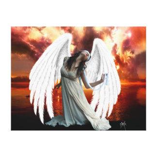 Ángel de la lona de la angustia impresión en lienzo