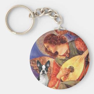 Ángel de la mandolina - Boston Terrier #1 Llavero Redondo Tipo Pin