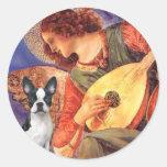 Ángel de la mandolina - Boston Terrier #1 Etiqueta Redonda