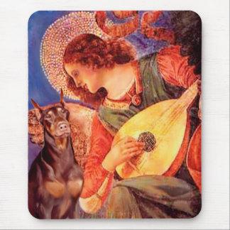 Ángel de la mandolina del Doberman (rojo) - Mouse Pad