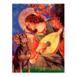 Ángel de la mandolina del Doberman (rojo) - Tarjetas Postales