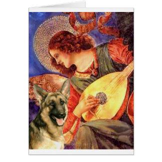 Ángel de la mandolina - pastor alemán 2 tarjeta de felicitación