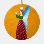 Ángel de la mariposa adorno navideño redondo de cerámica