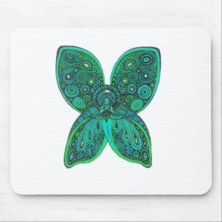 Ángel de la mariposa con las alas del verde azul alfombrilla de raton