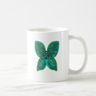 Ángel de la mariposa con las alas del verde azul taza