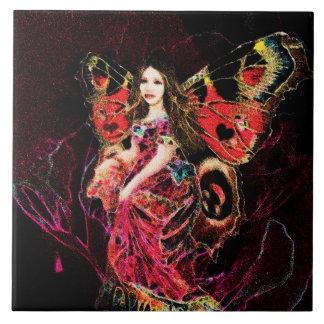 Ángel de la mariposa del corazón tejas