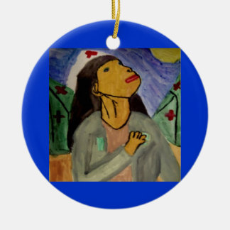 Ángel de la misericordia 3 adorno navideño redondo de cerámica