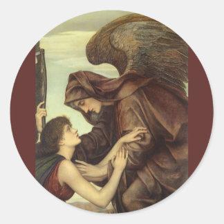 Ángel de la muerte de Evelyn De Morgan Pegatina Redonda