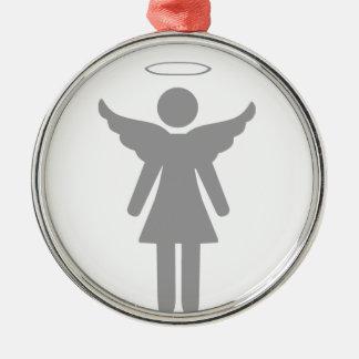 Ángel de la mujer del palillo adorno redondo plateado