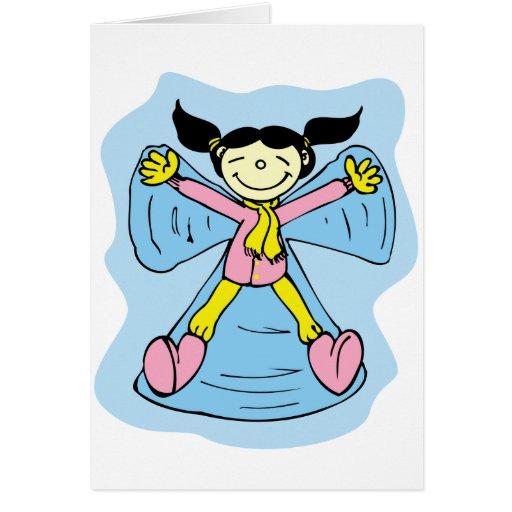 Ángel de la nieve de la niña tarjeta de felicitación