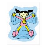 Ángel de la nieve de la niña tarjetas postales