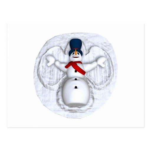 Ángel de la nieve del hombre de la nieve tarjetas postales