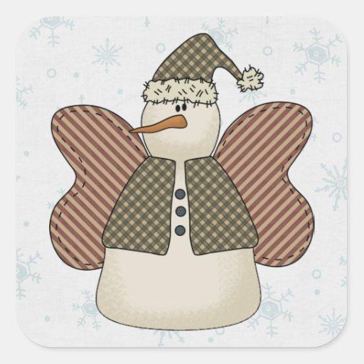 Ángel de la nieve del muñeco de nieve pegatina cuadrada