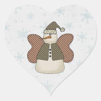 Ángel de la nieve del muñeco de nieve pegatina en forma de corazón