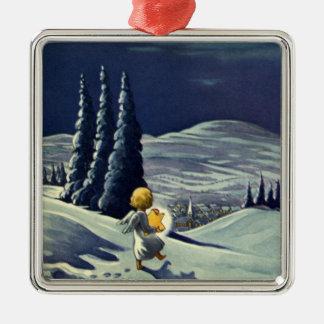Ángel de la nieve del navidad del vintage que cami adorno de navidad