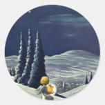 Ángel de la nieve del navidad del vintage que cami pegatina