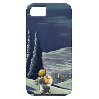 Ángel de la nieve del navidad del vintage que iPhone 5 funda