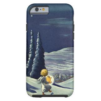 Ángel de la nieve del navidad del vintage que funda para iPhone 6 tough