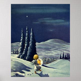Ángel de la nieve del navidad del vintage que póster