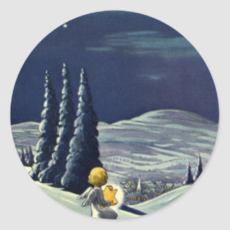 Ángel de la nieve del navidad del vintage que pegatina redonda