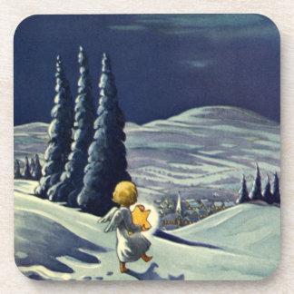 Ángel de la nieve del navidad del vintage que posavasos