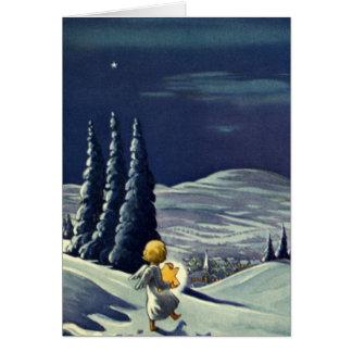 Ángel de la nieve del navidad del vintage que tarjeta de felicitación