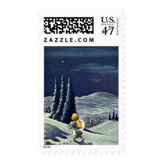 Ángel de la nieve del navidad del vintage que timbre postal