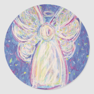 Ángel de la noche estrellada pegatina redonda