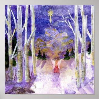 Ángel de la paloma del navidad póster
