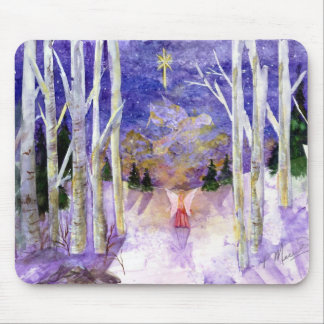 Ángel de la paloma del navidad tapete de ratón