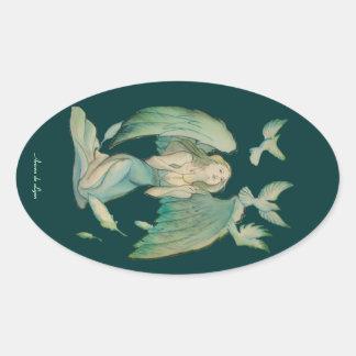 Ángel de la paz 2 pegatina ovalada
