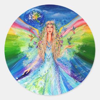 Ángel de la paz etiqueta redonda